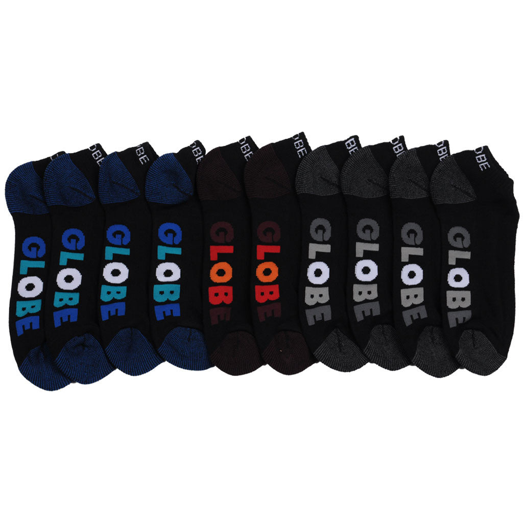 Globe Multi Stripe Ankle 5 Pack Men's Socks - Black (5 Pairs)