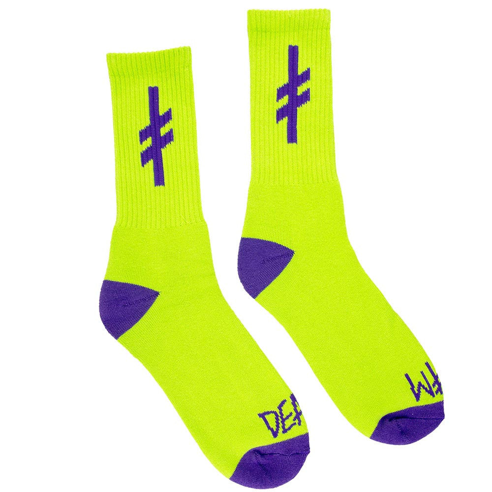 Deathwish Gang Logo Men's Socks - Green/Purple (1 Pair)