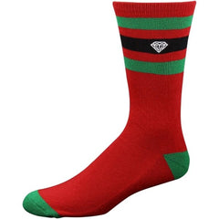 Diamond 3 Stripe High Cut Men's Socks - Red/Green (3 Pairs)