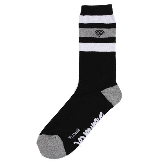 Diamond 3 Stripe High Cut Men's Socks - Black/Grey (3 Pairs)