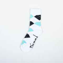 Diamond Argyle High Cut Men's Socks - White/Diamond Blue (1 Pair)
