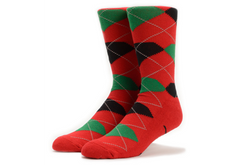 Diamond Argyle High Cut Men's Socks - Red/Green/Black (1 Pair)