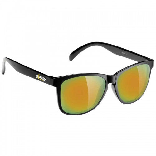 Glassy Deric Cancer Hater Sunglasses - Black/Gold Mirror