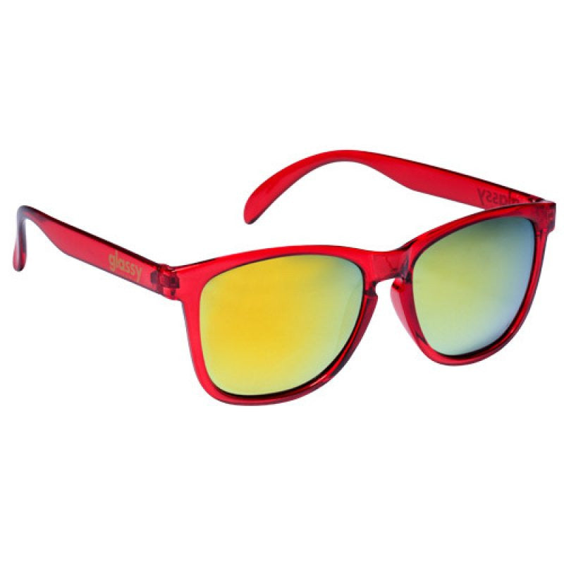 Glassy Deric Sunglasses - Clear Red/Gold Mirror