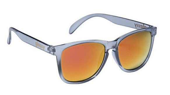 Glassy Deric Sunglasses - Clear Grey/Red Mirror