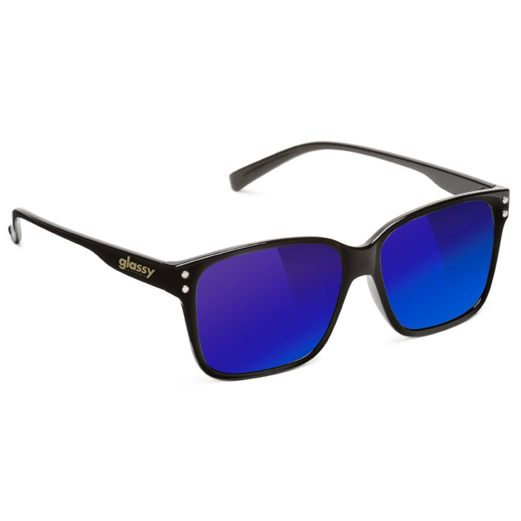 Glassy Fritz Sunglasses - Black/Blue Mirror