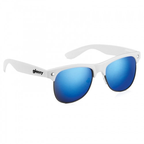 Glassy Shredder Sunglasses - White/Blue Mirror
