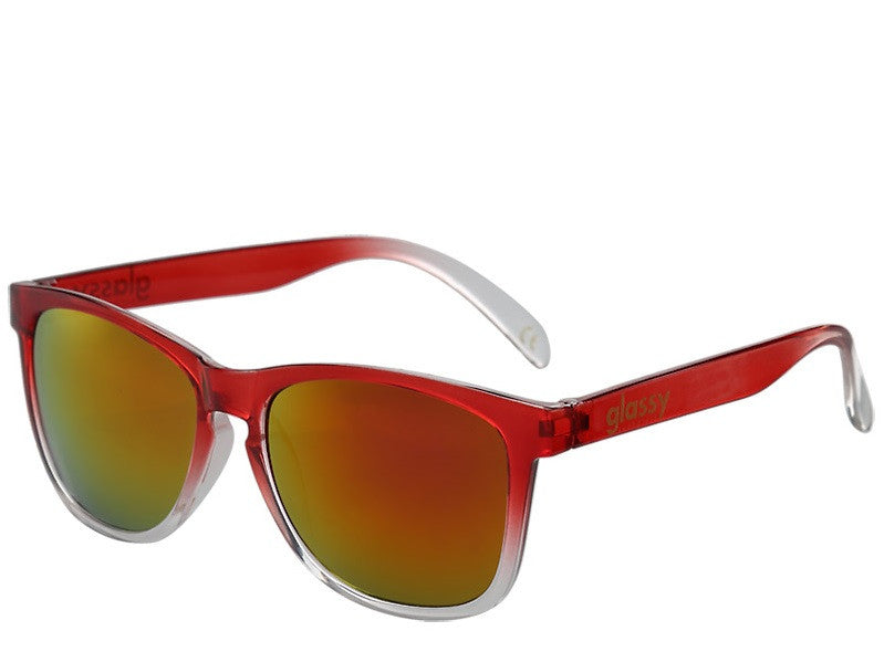 Glassy Deric Sunglasses - Transparent Red/Red Mirror