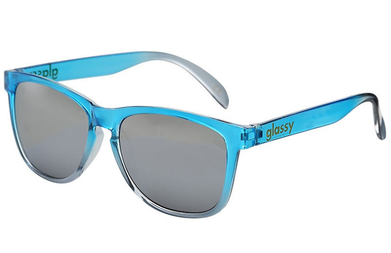 Glassy Deric Sunglasses - Transparent Blue/Silver Mirror
