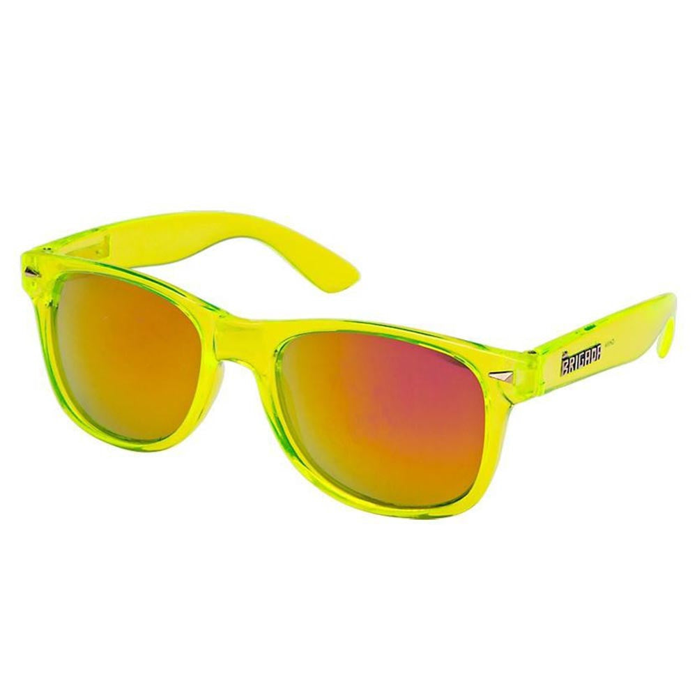 Brigada Lawless Sunglasses - Clear/Lime w/ Red Mirrored Lens
