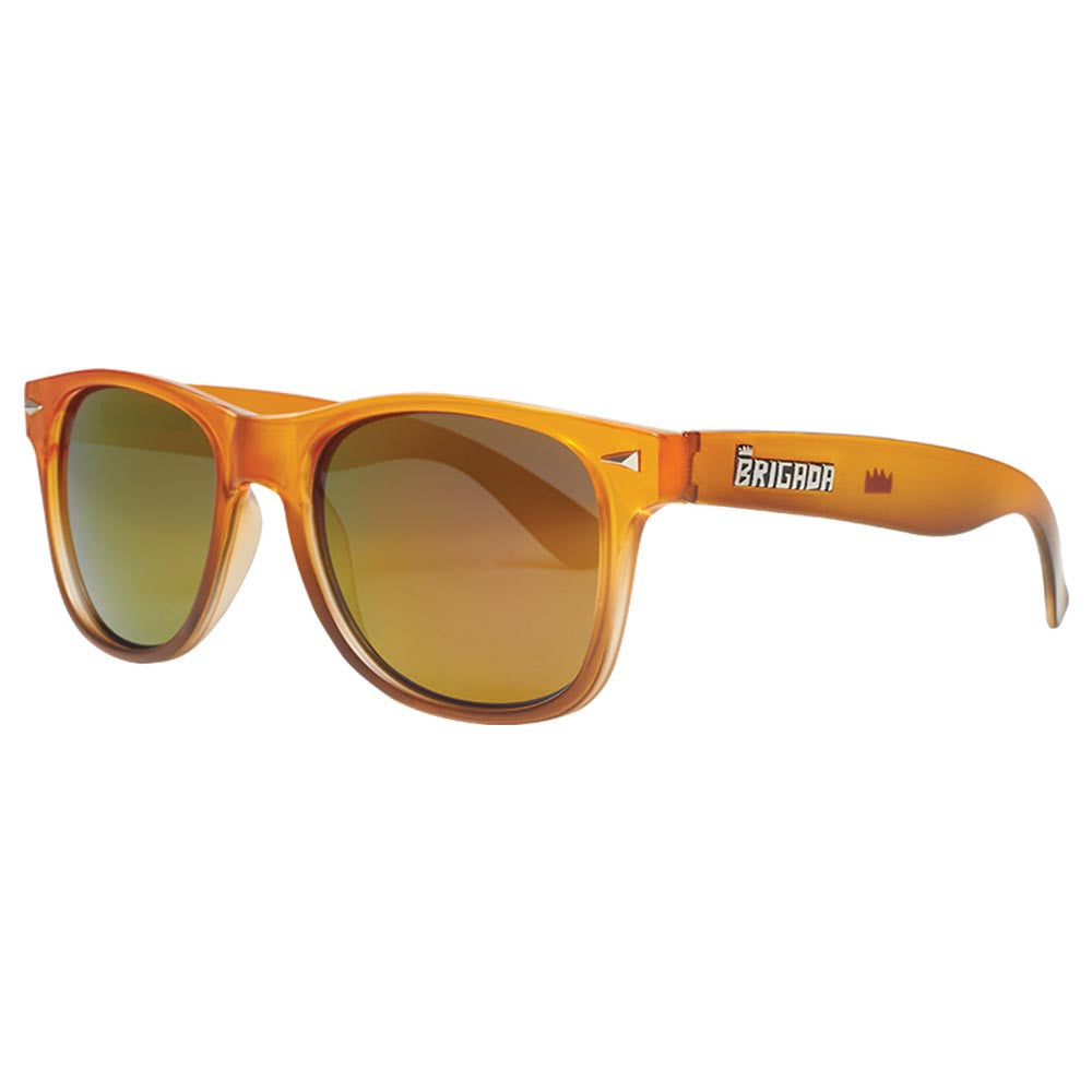 Brigada Lawless Sunglasses - Orange/Brown Fade w/ Red Iridescent Lens