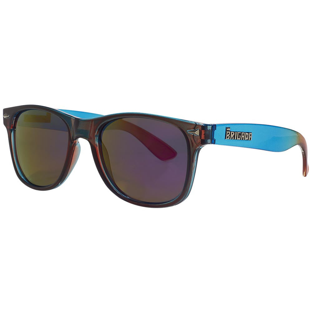 Brigada Lawless Sunglasses - Red/Blue Fade w/ Blue/Red Iridescent Lens