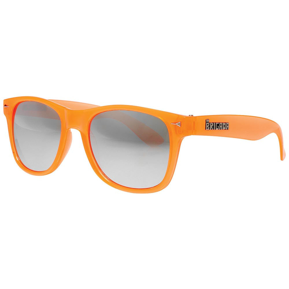 Brigada Lawless Sunglasses - Clear/Orange w/ Mirrored Iridescent Lens