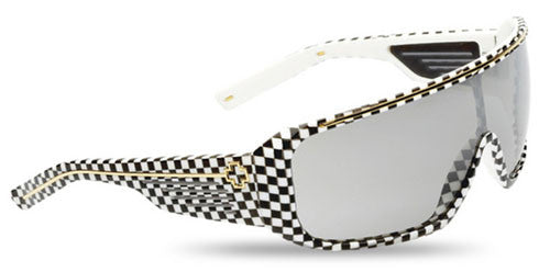 Spy Tron Sunglasses - Checkers Frame/Grey with Silver Gradient Mirror Lens