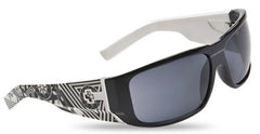 Spy Hailwood Sunglasses - Black White Crazy Temples Frame/Grey Lens
