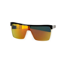 Spy Flynn Sunglasses - Black/White Frame - Grey/Red Flash Mirror Lens