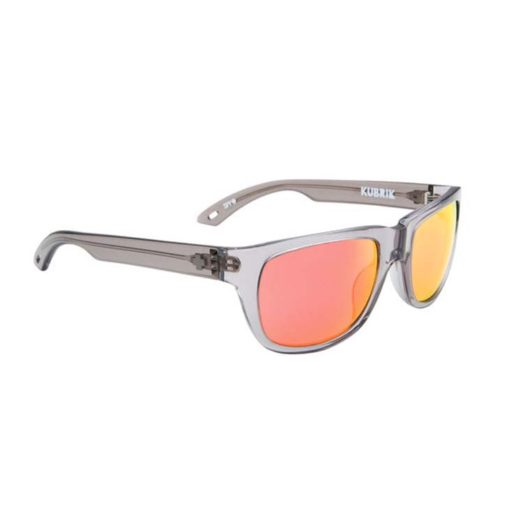 Spy Kubrik Sunglasses - Trans Grey Frame - Grey/Red Flash Mirror Lens