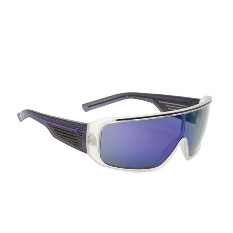 Spy Tron Men's Sunglasses - Matte Crystal/Black Temples Frame - Grey Green/Purple Spectra Lens
