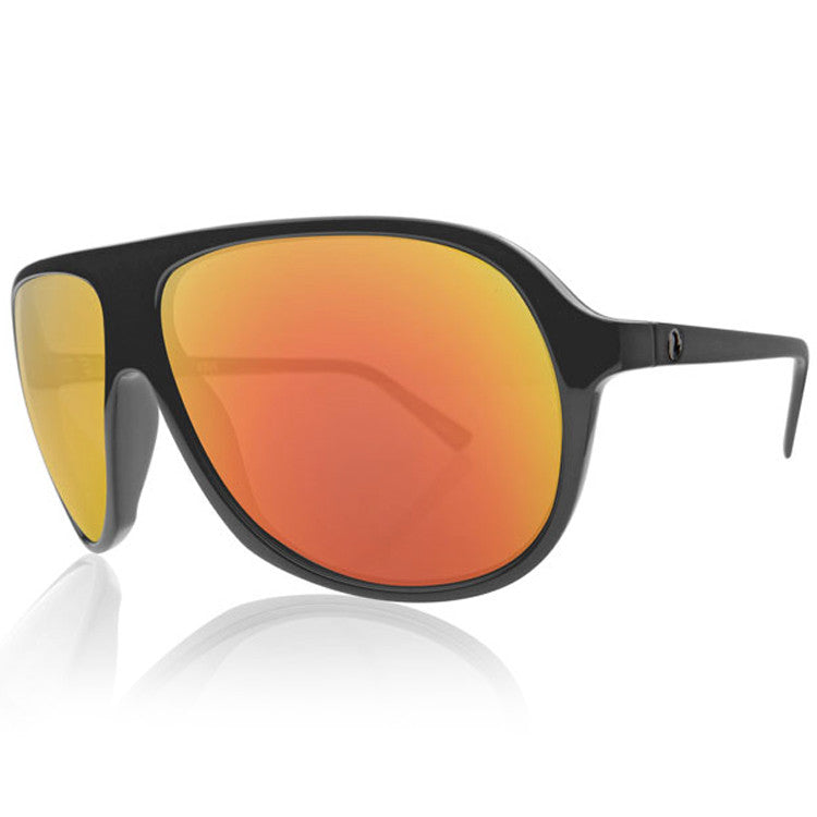 Electric Hoodlum Sunglasses - Matte Black Frame/Grey Fire Chrome Lens
