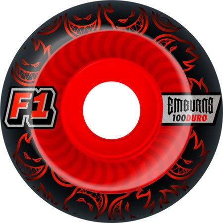 Spitfire F1 Street Burner Emburns Infernos Skateboard Wheels 54mm 100a - Black/Red (Set of 4)