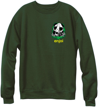 Enjoi Panda Ripper Crew - Military Green - Men's Sweatshirt
