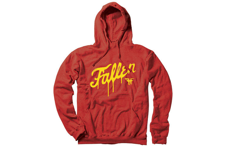 Fallen DIY Fury Pullover Hooded Men's Sweatshirt - Blood Red/Gold