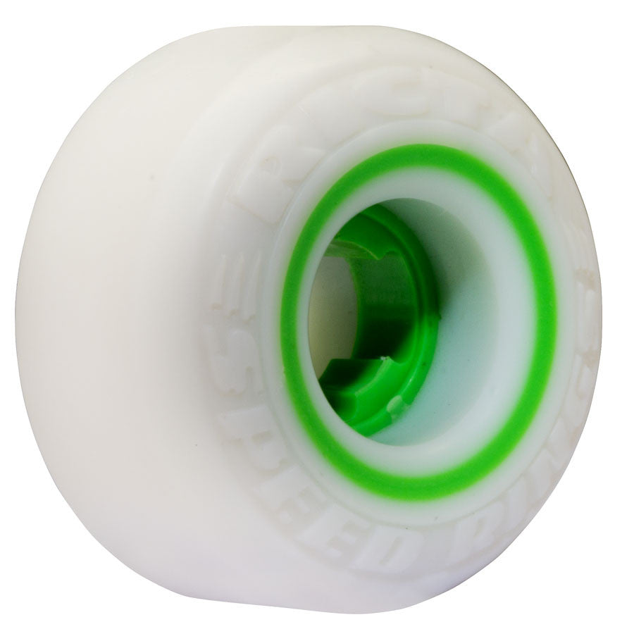 Ricta Speedrings Skateboard Wheels 52mm 81b - White/Green (Set of 4)
