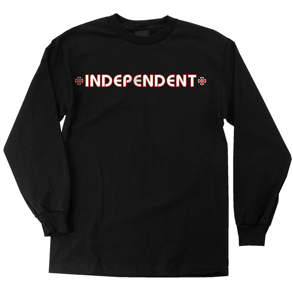 Independent Bar/Cross Regular L/S Mens T-Shirt - Black