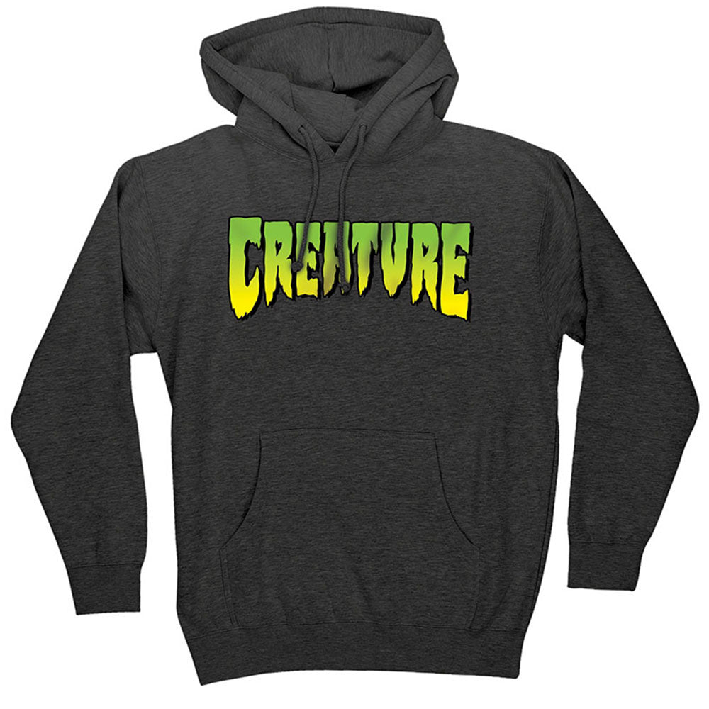 Creature Logo Pullover Hooded L/S Mens Sweatshirt - Charcoal Heather