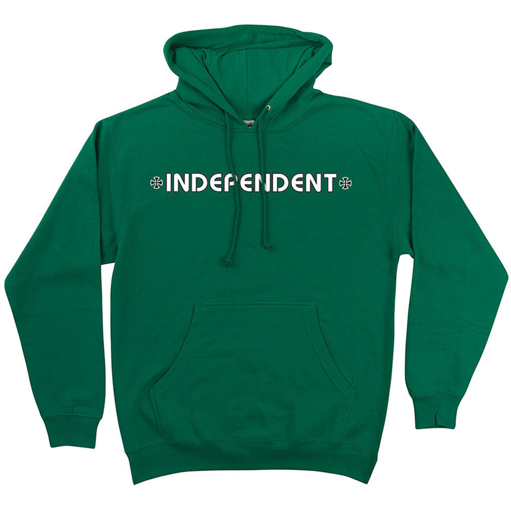 Independent Bar/Cross Pullover Hooded L/S Men's Sweatshirt - Kelly Green