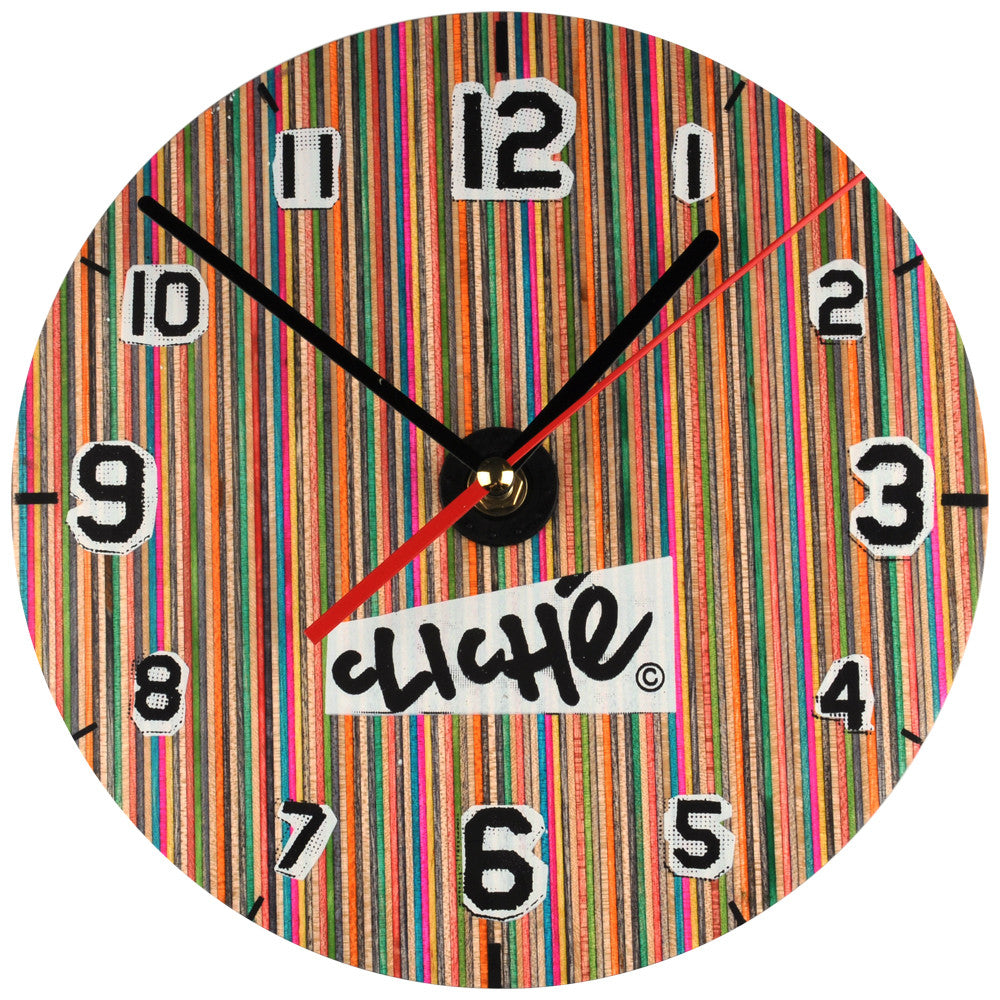 "Cliche ""Skate O' Clock"" Wall Mounted Clock - Multi"