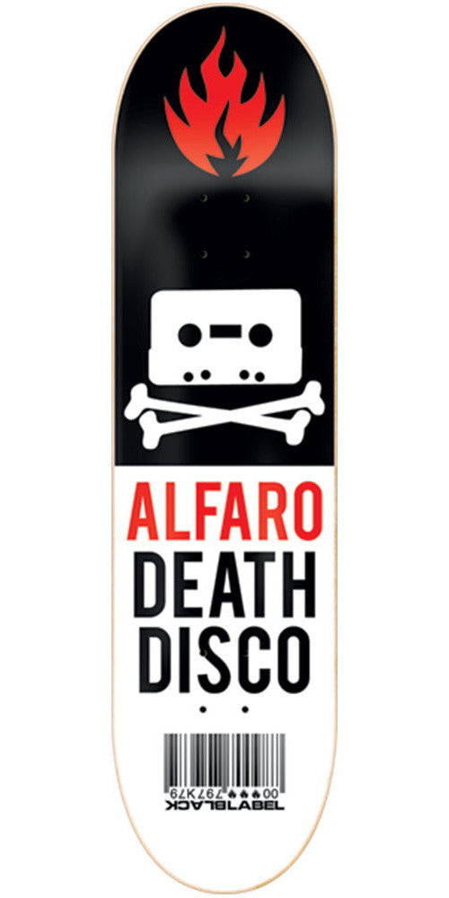 Black Label Adam Alfaro Death Disco Skateboard Deck - Black/White - 8.12