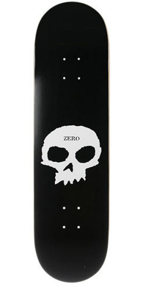 Zero Single Skull Skateboard Deck 8.0 - Black/White