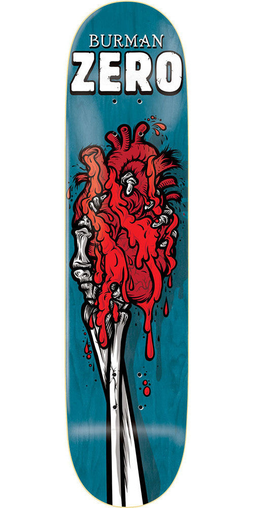 Zero Dane Burman Skeleton Hands R7 Skateboard Deck - Blue - 8.25