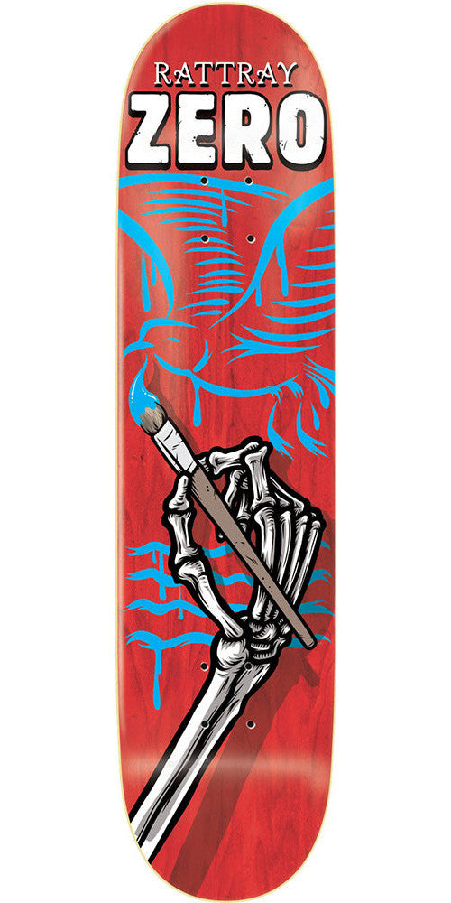 Zero John Rattray Skeleton Hands R7 Skateboard Deck - Red - 8.5