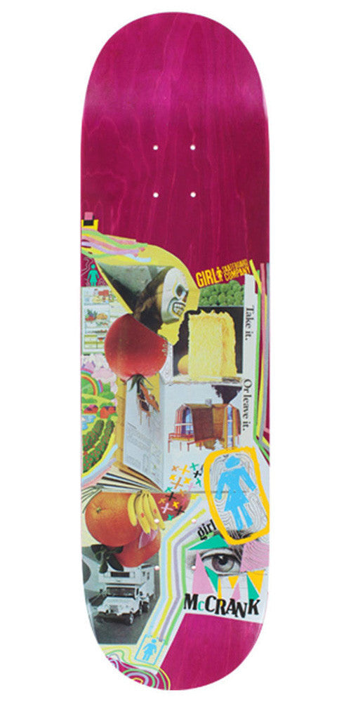 Girl McCrank Mish Mosh Skateboard Deck - Pink - 8.375in x 31.75in