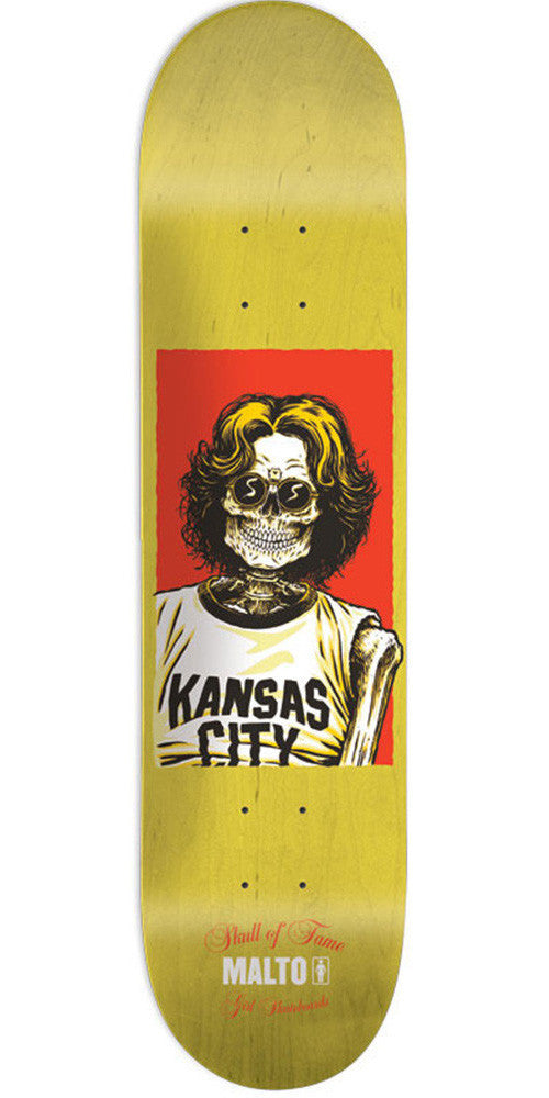 Girl Malto Skull Of Fame Skateboard Deck - Yellow - 8.125in x 31.625in