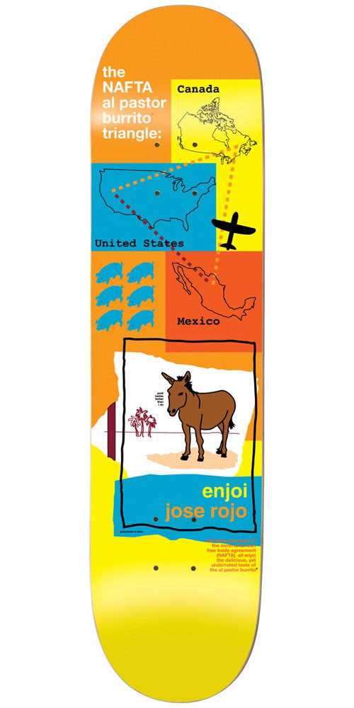 Enjoi Jose Rojo Donkey R7 Skateboard Deck - Orange/Yellow - 8.375in