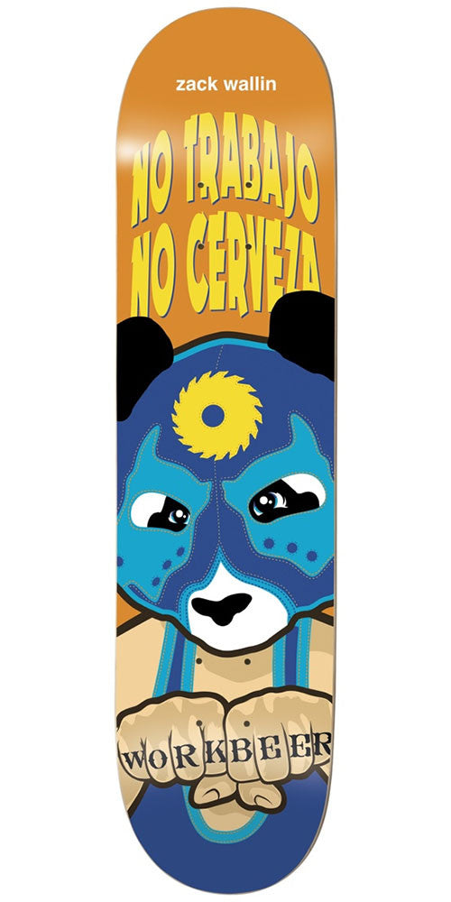Enjoi Zack Wallin Wrestling Mask IL Skateboard Deck - Orange - 8.25in