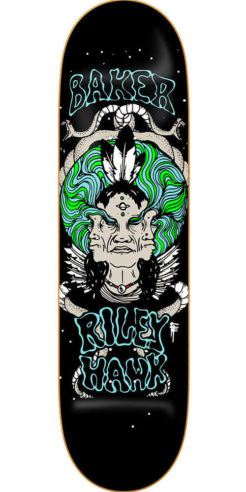 Baker Riley Hawk Visions Skateboard Deck - Black - 8.0in
