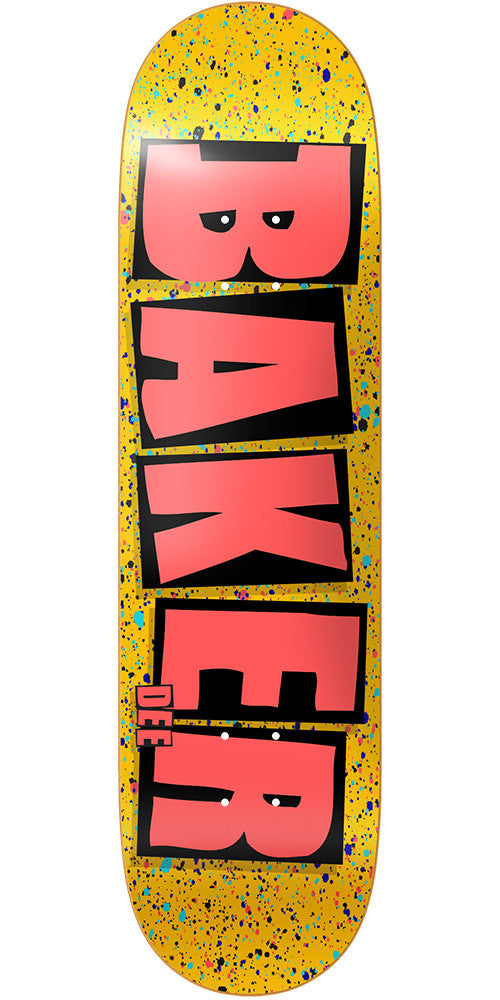 Baker DO Brand Name Splat Skateboard Deck - Yellow - 8.25in