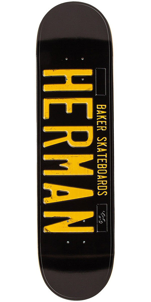 Baker BH License Plate Skateboard Deck - Black - 8.0in