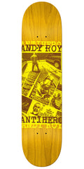 Anti-Hero Andy Roy Gypsy Motherfuc*er Skateboard Deck - Yellow - 8.5in x 32.5in