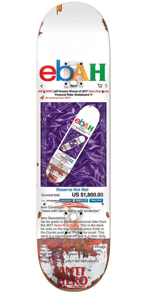 Anti-Hero Grosso Ebah Skateboard Deck - Multi - 8.5in x 31.875in