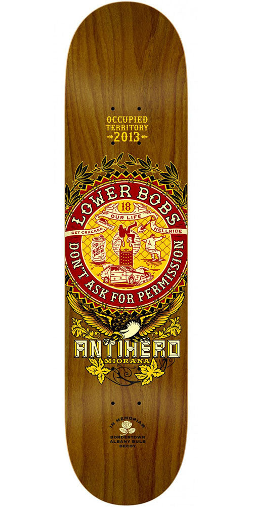 Anti-Hero T-Mo State of Mind Skateboard Deck - Brown - 8.5in x 31.75in