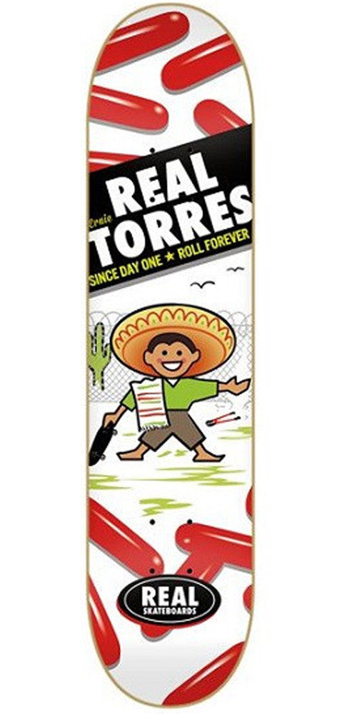 Real Torres Hola Skateboard Deck - White/Red - 8.06in