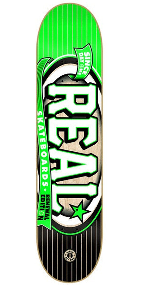 Real Renewal Knockout Mini Skateboard Deck - Green/Black - 7.3in