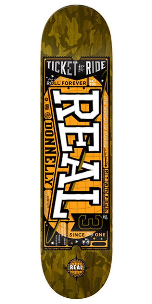 Real Donnelly Ticket To Ride Skateboard Deck - Olive - 8.25in x 31.75in