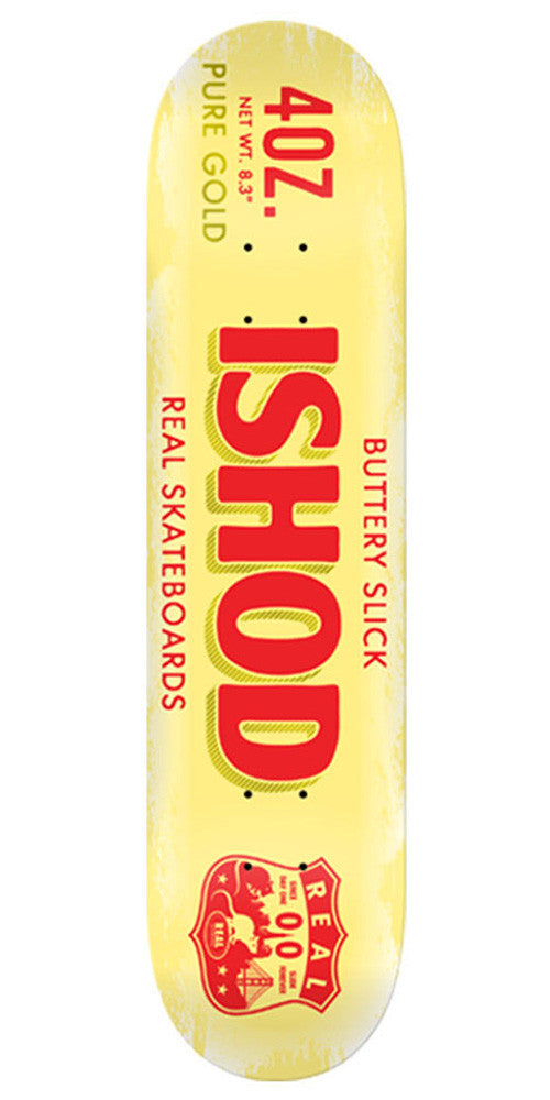 Real Ishod Buttery Slick Skateboard Deck - Yellow - 8.3in x 31.9in