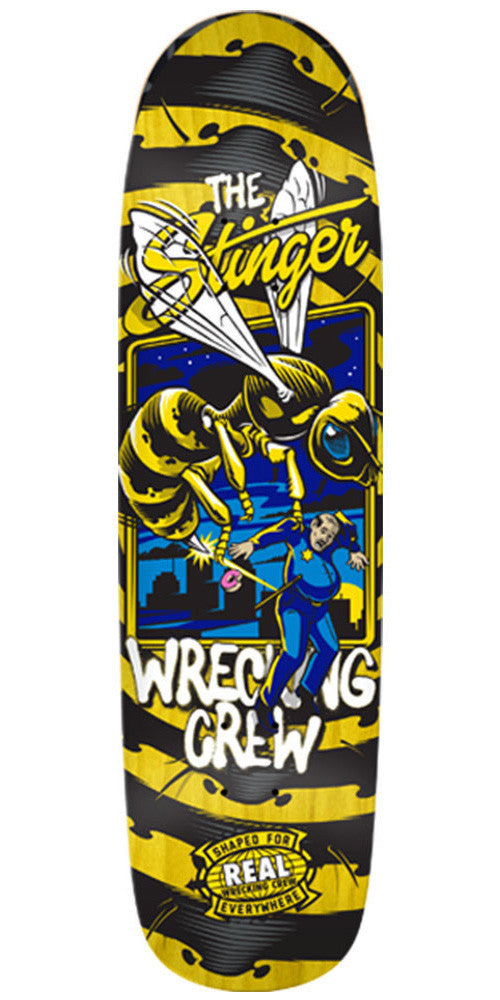 Real Wrecking Crew Stinger 2 Skateboard Deck - Yellow - 8.8in x 32.5in
